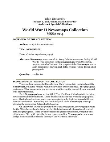 World War II News Maps (#204) - OHIO University Libraries