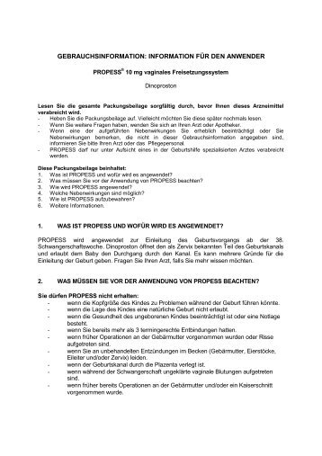 GEBRAUCHSINFORMATION: INFORMATION FÜR DEN ... - Ferring