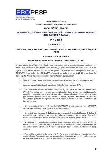 Resultado Final RETIFICADO do EDITAL 07/2013 - Propesp
