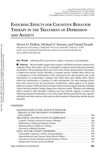 enduring effects for cognitive behavior therapy in the treatment of ...