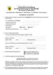 Verbindliche Anmeldung zur Ferienbetreuung für Schulkinder