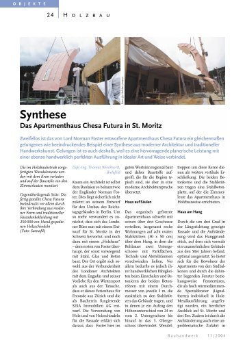 Synthese Das Apartmenthaus Chesa Futura in St. Moritz - Bauverlag