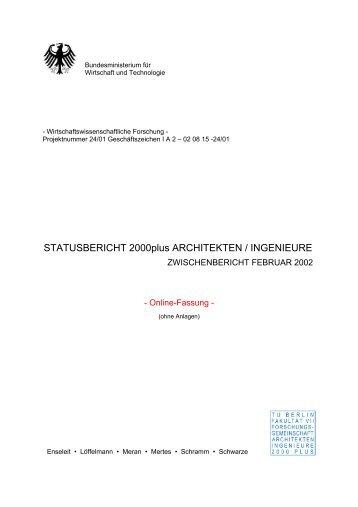 STATUSBERICHT 2000plus ARCHITEKTEN / INGENIEURE