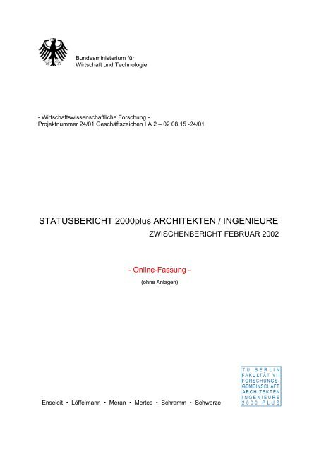 STATUSBERICHT 2000plus ARCHITEKTEN / INGENIEURE