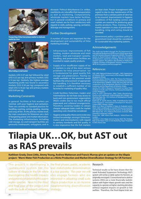 Tilapia UK…OK, but AST out as RAS prevails - Institute of Aquaculture