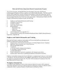 Hazard Communication Program - Department of Plant & Soil Science