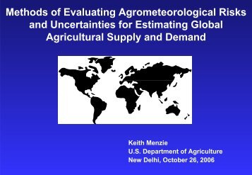 Methods of Evaluating Agrometeorological Risks and Uncertainties ...