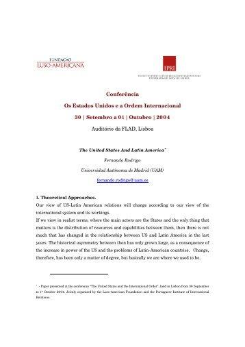 Conferência Os Estados Unidos e a Ordem Internacional 30 ...