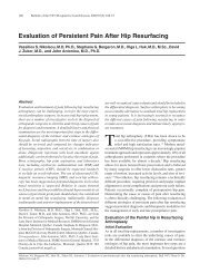 Evaluation of Persistent Pain After Hip Resurfacing - Bulletin of the ...