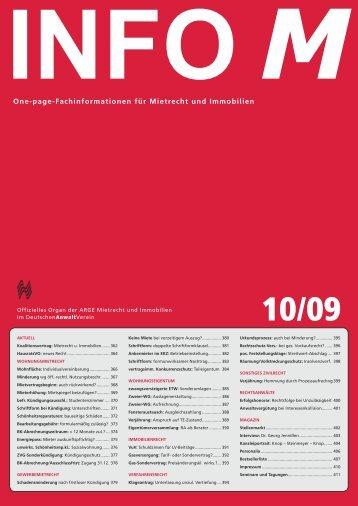 Front 10-09.indd - Arbeitsgemeinschaft Mietrecht und Immobilien