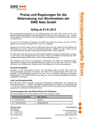 Netznutzungsentgelte ab 01.01.2012 - Stadtwerke Ettlingen GmbH
