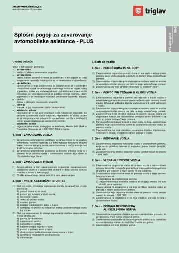 Splošni pogoji za zavarovanje avtomobilske asistence - PLUS