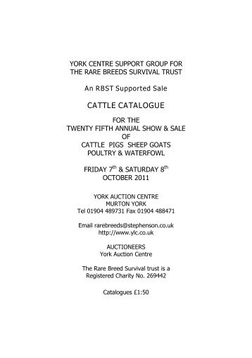 CATTLE CATALOGUE - Longhorn Cattle Society