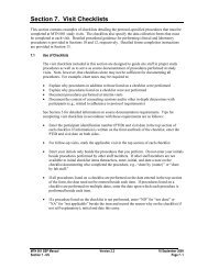 Section 7. Visit Checklists