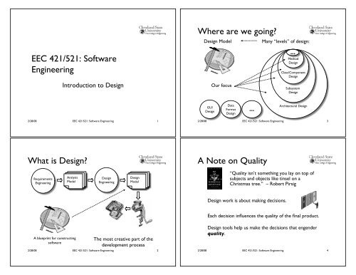 Eec 421 521 Software Engineering What Is Design Where Are We