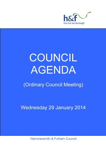 Agenda frontsheet 29th-Jan-2014 19.00 Full Council