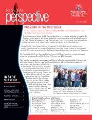 Sanford Health Plan Provider Perspective Summer 2009