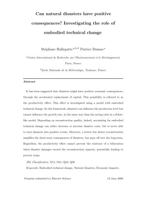 Investigating the role of embodied technical change - Centre ...