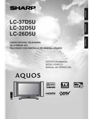 LC-26D5U Operation Manual - Sharp Electronics
