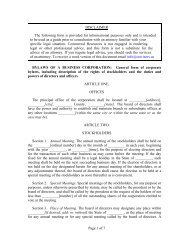Standard Bylaws of A Business Corporation - CR Advisors