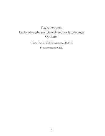 Lattice-Regeln zur Bewertung pfadabhängiger ... - G-CSC Home