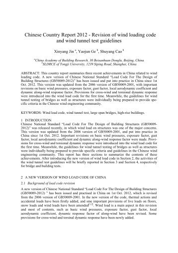 Chinese Country Report 2012 - Revision of wind loading code and ...