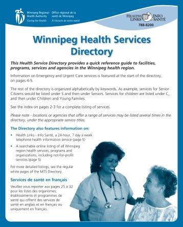health services directory - Winnipeg Regional Health Authority