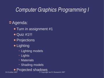 Computer Graphics Programming I - FreeDesktop.Org