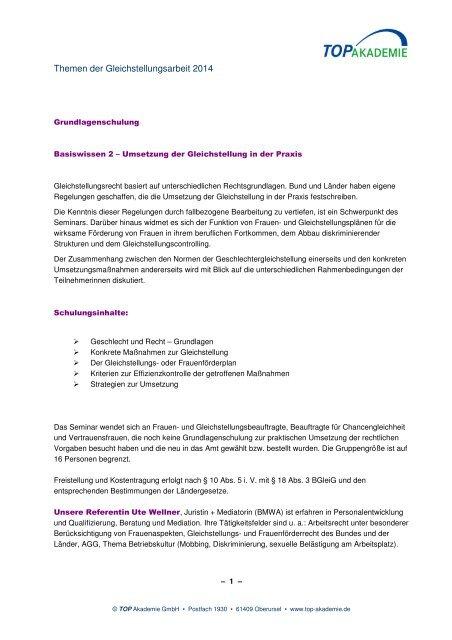 Themen der Gleichstellungsarbeit 2014 - TOP Akademie
