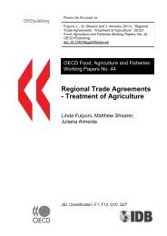 Regional Trade Agreements - Treatment of Agriculture