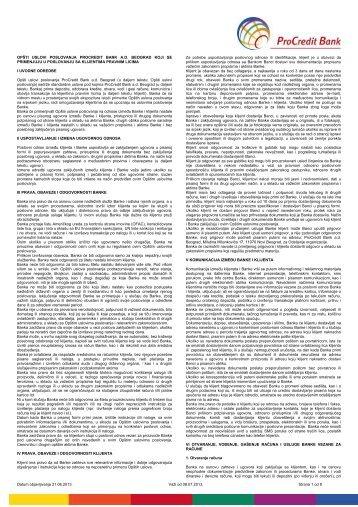 Opšti uslovi poslovanja za pravna lica - ProCredit Bank