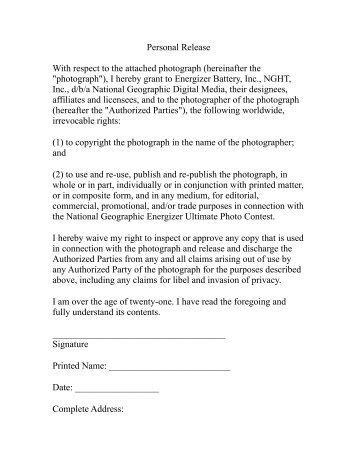 Artist Release Form. Copyright Release Form | Templatezet ...