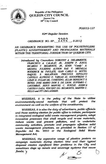 SP-2202, S-2013 Proposed No: PO 2012-127 - Quezon City Council
