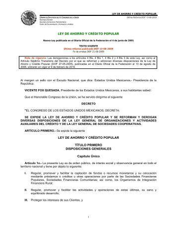 LEY DE AHORRO Y CRÉDITO POPULAR - Inegi