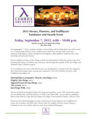 Friday, September 7, 2012, 6:00 – 10:00 p.m. Fo - Lambda Archives