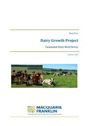 Tasmanian Dairy Herd Survey, Oct 2012 - DairyTas