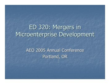 ED 320: Mergers in Microenterprise Development - Field