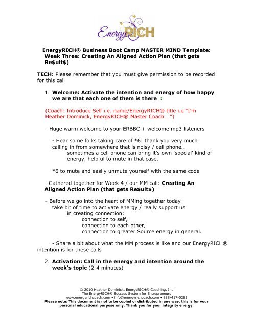 EnergyRICH® Business Boot Camp MASTER MIND Template
