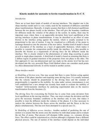 Kinetic models for austenite to ferrite transformation in Fe ... - alemi.ca
