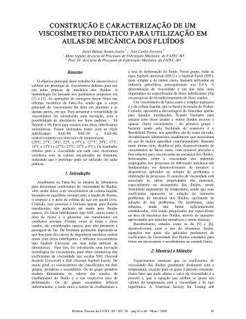 construção e caracterização de um viscosímetro didático para ...