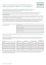 RePuRChASe ReQueST FoRM (ReDeMPTIon ... - Insight Investment