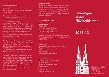 Führungsflyer 2011 2.Halbjahr - Elisabethkirche in Marburg