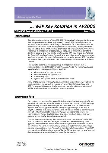 ... WEP Key Rotation in AP2000