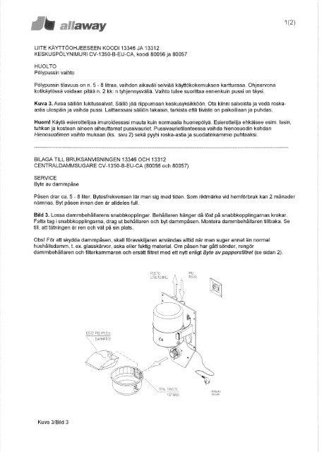 CV-1350-B-EU-CA:n pölypussin ja suodattimen vaihto