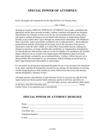 Special Power Of Attorney - Bdo