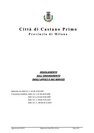 nuovo regolamento uffici e servizi - Comune di Castano Primo