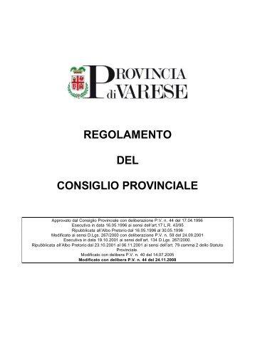 regolamento del consiglio provinciale - Provincia di Varese