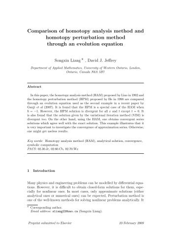 Comparison of homotopy analysis method and homotopy - Applied ...