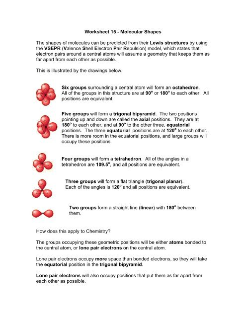 Worksheet 15 Molecular Shapes The Shapes Of Molecules Can Be