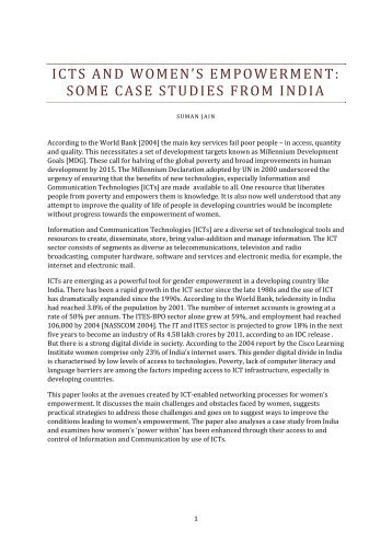 ICTs and women empowerment : some case studies from India - IFUW